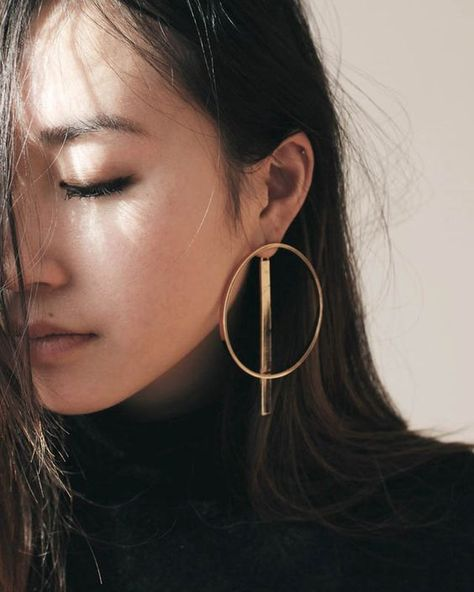 Large gold hoop and bar   Statement earrings   Girlfriend is Better