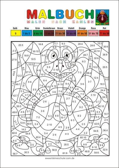 Malen Nach Zahlen Multiplizieren Und Dividieren Matheaufgaben