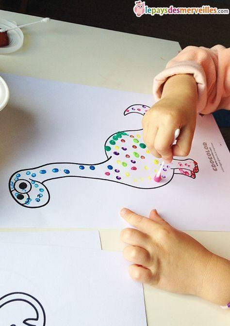 Peinture Au Coton Tige Au Cotontige Peinture Actividades Divertidas Para Ninos Juegos Divertidos Para Ninas Actividades Para Ninos De 3 Anos