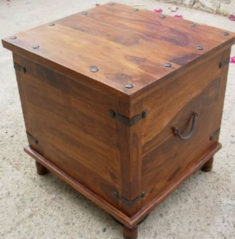 Storage End Table Wood Trunks Storage Trunk Rustic Square