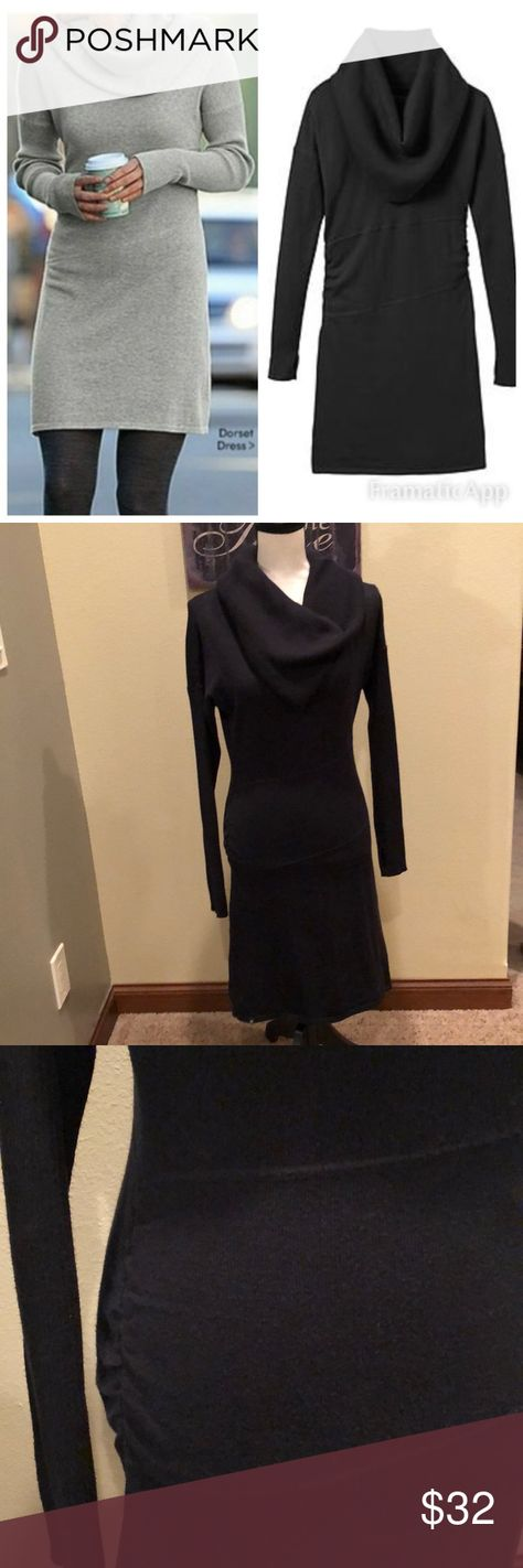 Athleta Dorset Cowl Neck Black Sweater Dress Small •Athleta Dorset Cowl Neck Sweater Dress •Size Small •Black •Organic Cotton/wool blend •Oversized Ribbed Cowl Neck (that can be worn on shoulders like a shawl neckline also) •Ribbed Dolman sleeves •Flattering Ruched sides •Athleta White & Black Logo on hem •Thumbholes that hold sleeves in place •Great Dress to be worn with boots and leggings or with tights! •Great condition with light pulling but still looks amazing! Athleta Dresses Midi