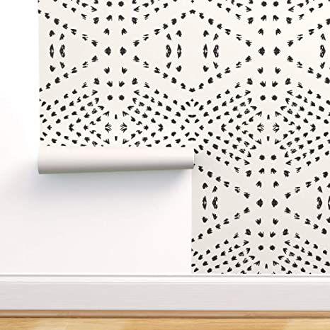 Peel And Stick Removable Wallpaper Tribal Boho Gestural Lines Black White Tile Dot Bohemian Geo Geometric By Hol In 2020 Boho Tiles Bohemian Wallpaper Dots Wallpaper