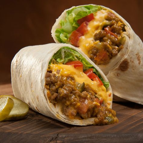 Cheeseburger Burritos with Ground Beef, Mustard, Tomato Ketchup, Pickle Relish, Tomatoes, Shredded Cheddar Cheese, Flour Tortillas.