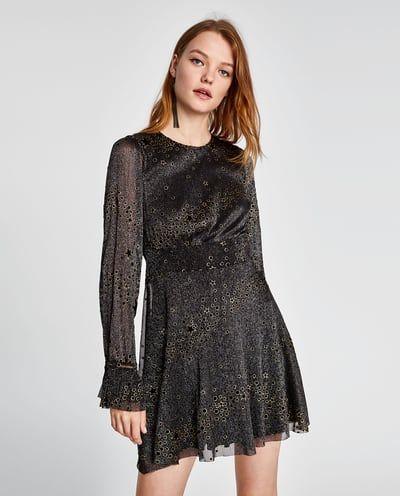 Zara Dan 2 Parlak Yildiz Desenli Elbise Resmi Elbise Zara Satin