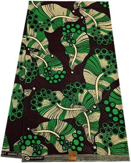 African Wax Print Polished Green Mahogany Cream And Black African Wax Print Wax Print African Print Fabric
