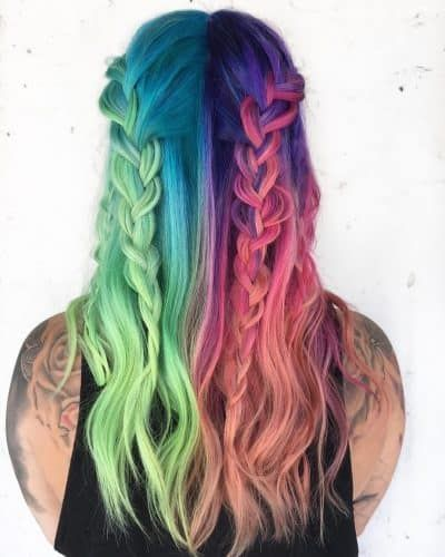 23 Brilliant Split Hair Color Ideas That Ll Make You Dye Your Hair In 2020 Hair Inspo Color Half Colored Hair Colored Hair Tips
