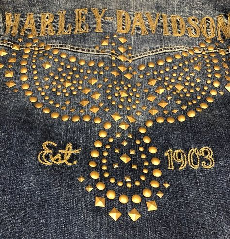 Harley-Davidson Women/'s Studded Eagle Denim Jean Jacket 96021-18VW
