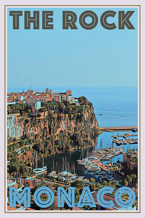 Poster On, Poster Wall, Poster Prints, Monaco, Online Posters, Picture Wall, Photo Wall, Vintage Travel Posters, The Rock