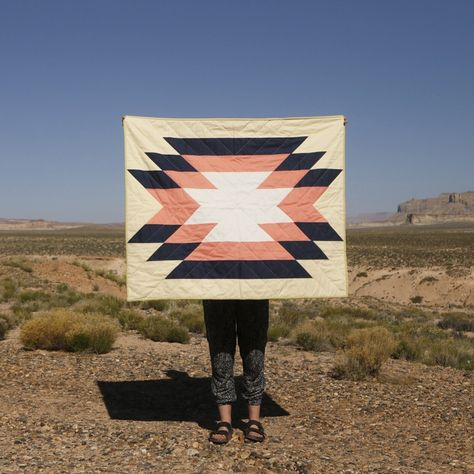 The Big Sur Quilt. Machine-pieced and hand-quilted. Made across New Mexico, Arizona and Utah.