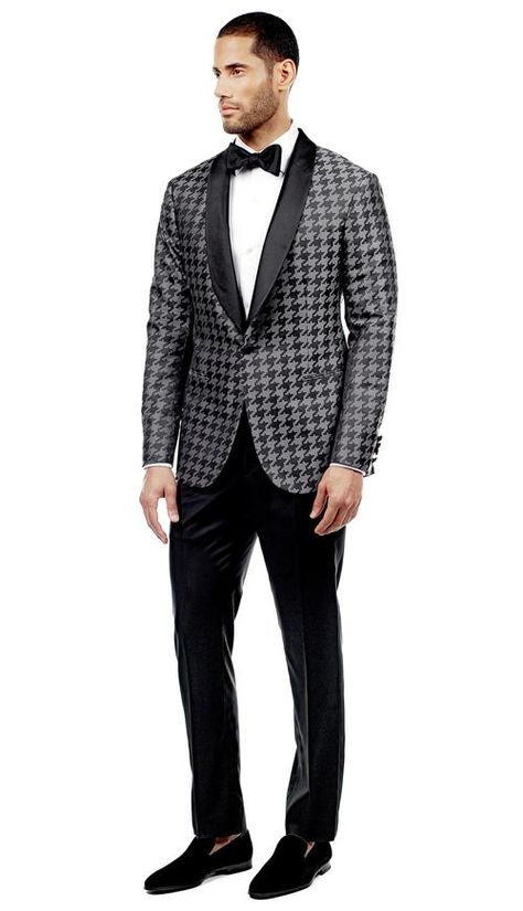 Graphite Houndstooth Tuxedo  #menswear #mensfashion #graysuit #mensstyle #glennplaid #wedding #weddingsuit #groom #groomssuit #groomsmen #groomsman #weddingstyle #suitandtie #bluesuit #plaidsuit #strippedsuit #pinstripes #tux #tuxedo #weddingtuxedo #blacktux #houndstooth #houndstoothsuit