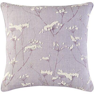 Surya Enchanted Indoor Linen Pillow Cover Size 20 H X 20 W X 0 25 D Color Purple Surya Enchant Floral Throw Pillows Floral Pillow Cover Floral Pillows