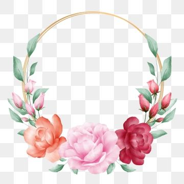 Elegant Watercolor Flowers Wreath With Golden Round Frame Watercolor Clipart Flower Watercolor Png Transparent Clipart Image And Psd File For Free Download Watercolor Flower Wreath Herbs Illustration Watercolor Flowers