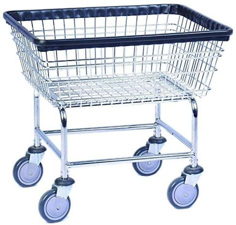Everstrong Heavy Duty Wire Basket Metal Laundry Cart Silver