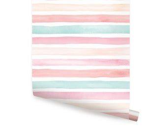 Watercolor Stripes Blue Peel Stick Fabric Wallpaper Etsy Fabric Wallpaper Monochrome Interior Fabric Wall