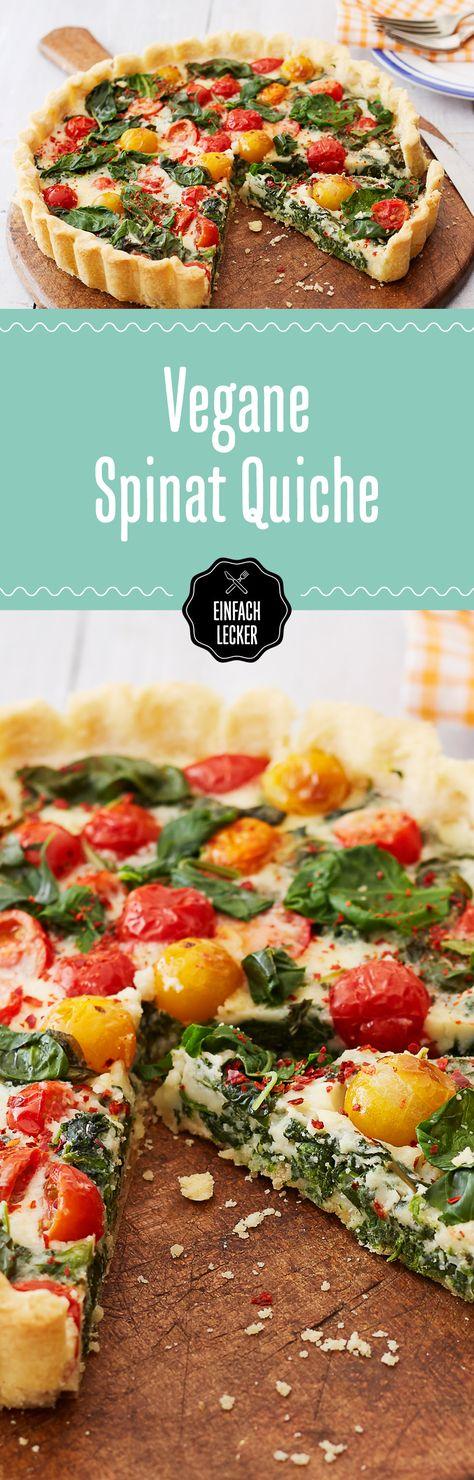 Da sehen wir rot! Und gelb! Und grün! Die vegane Quiche mit Spinat, Cherry-Tomaten, Knoblauch und Muskat ist ein geschmacklicher und optischer Knaller.