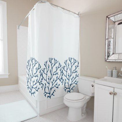Coral Reef Theme Stylish Teal Blue Coral Pattern Shower Curtain