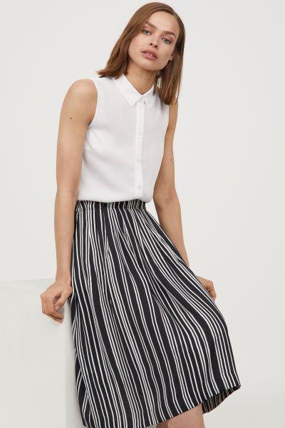 Striped Skirt Black White Striped Women H M Us Striped