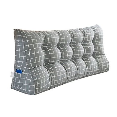 MS Pillow Gray Plaid Bedside Triangle Cushion Bed Large ...