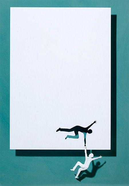 Danish artist Peter Callesen, flat sheets of white paper.