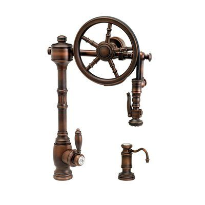 Waterstone The Wheel Pull Down Single Handle Kitchen Faucet With Side Spray And Soap Dispenser Finish Distressed