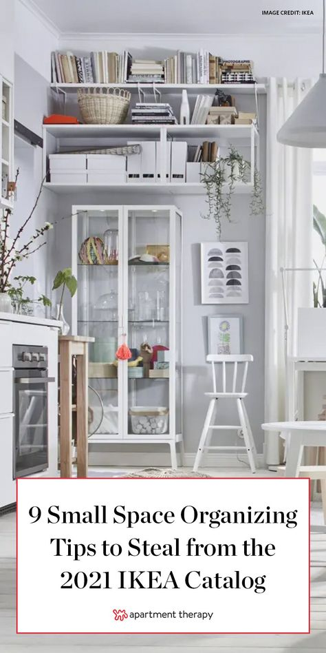 Making a small space functional, comfortable, and sophisticated is a challenge, and even the tiniest of design decisions can make a big difference. Luckily, the 2021 IKEA catalog is filled to the brim with small space organizing solutions that maximize areas while making them look mindfully designed. Here are nine of the best tips pulled right from the digital pages. #ikea