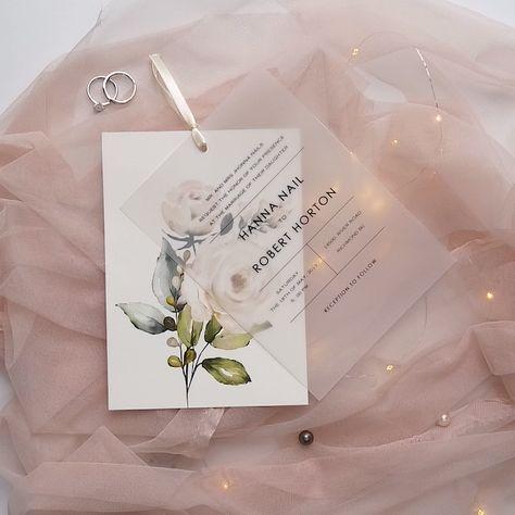 ivory floral layered vellum wedding invitations with ribbons#wedding#weddinginvitations#stylishwedd#stylishweddinvitations