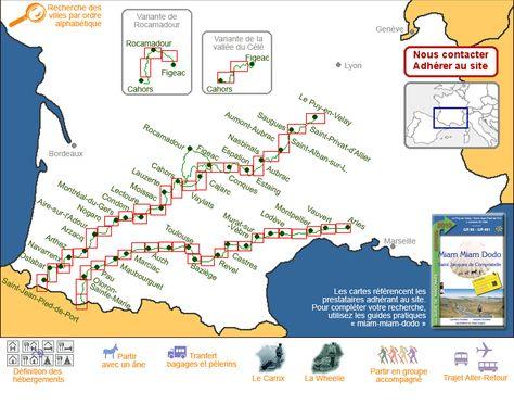 Hébergements sur le chemin de Compostelle (Gîtes d'étape, chambres d'hôtes, hôtels) - Carte générale du GR 65