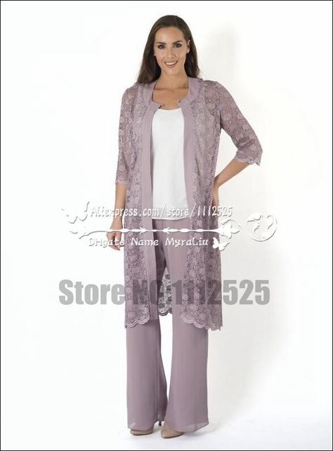 507bd989090 AMP-1177 Elegant mother of the birde pant suit 3 piece chiffon outfit with  lace jacket formal dress for Special Occasion
