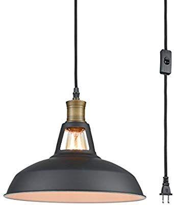 Yobo Lighting Industrial Plug In Pendant Light With 9 8 Ft