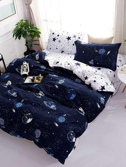 Planet Space Print Sheet Set Shein Usa Duvet Cover Sets Luxury Bedding Sets Star Bedding