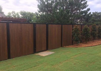 Fencetrac Black Metal Posts Wood Infill Fence Design Wood Fence Fence Planning