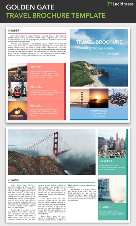 Golden Gate Travel Brochure Template via @Lucidpress See more - travel brochure