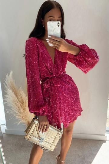 Long Sleeve Homecoming Dresses, Hoco Dresses, Pink Mini Dresses, Sequin Mini Dress, Long Sleeve Mini Dress, Clubbing Dresses, Vegas Dresses, Mini Dress Formal, Sequin Outfit