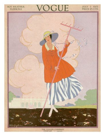 Vogue Cover - July 1915    Illustration of woman in blue and white striped skirt with orange jacket, holding pink rake on an estate lawn for HOT WEATHER FASHIONS.
