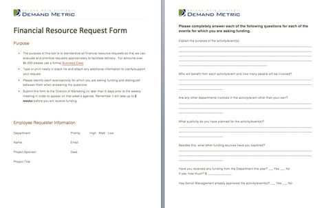 Financial Resource Request Form - A form that allows staff to - vendor request form