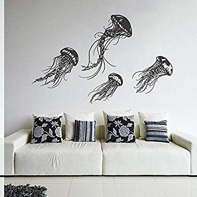 Creativewalldecals Wall Decal Vinyl Sticker Decals Art Decor Design Jellyfish Sea Ocean Deep Wa Contemporary Wall Stickers Jellyfish Wall Art Vinyl Wall Decals