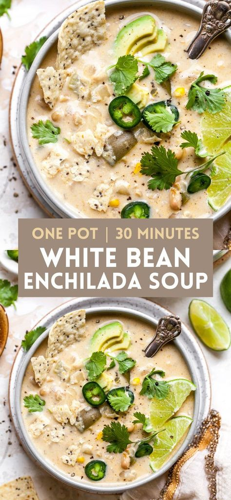 Creamy White Bean Enchilada Soup with green chiles and corn is the ultimate 30 minute vegetarian soup. Freezer-friendly and great for meal prep or easy weeknight dinner. #soup #souprecipes #enchiladasoup #whitebeansoup #dinnerrecipes #lunchideas