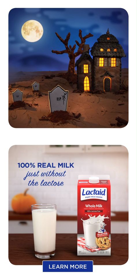 Halloween cookies are haunted by their love of LACTAID®Milk—and you will be too. It's 100% real dairy and 100% lactose-free.