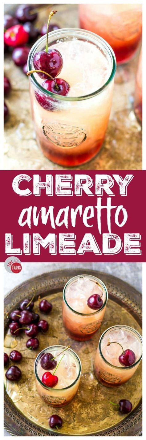 3 Ingredient Cherry Amaretto Limeade : Take Two Tapas Non Alcoholic Drinks, Liquor Drinks, Cocktail Drinks, Cocktail Recipes, Beverages, Amaretto Drinks, Amaretto Recipe, Booze Drink, Whiskey Drinks