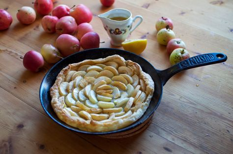 The simplest apple pie + ginger caramel sauce.