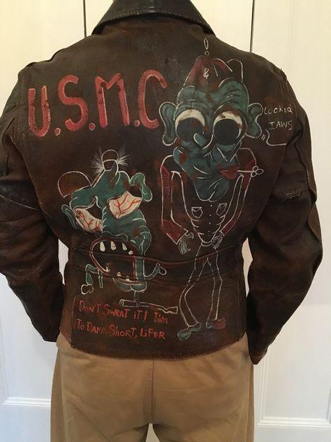 Tueur de 1940 WW2 USMC peint moitié veste en cuir de ceinture