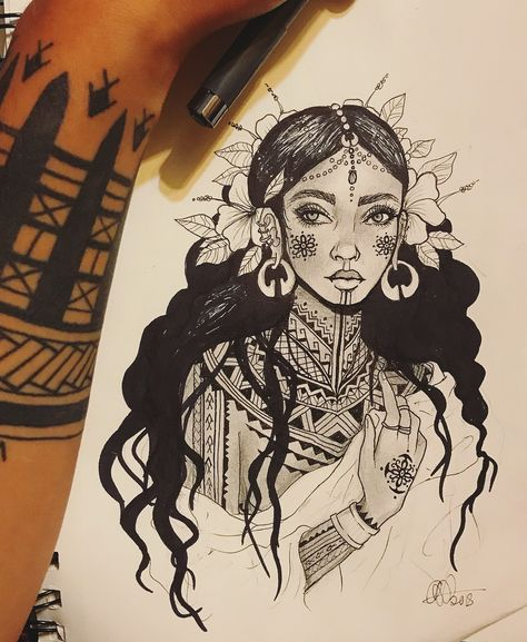 """Ayla Roda on Instagram: """"Had a drawing flow for the first time in a while🌺 Visayan woman with gold jewelry and traditional flower tattoos. The ancient Visayans were…"""" Traditional Filipino Tattoo, Traditional Tattoo Flowers, Filipino Art, Filipino Culture, Tribal Back Tattoos, Filipino Tribal Tattoos, Tribal Tattoos For Women, Tribal Flower Tattoos, Cross Tattoos"""