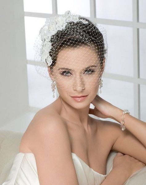 Be the winner of Brides Live Wedding and wear a headpiece from Bel Aire Bridal, like this French Net Veil Bridal Veils And Headpieces, Bridal Fascinator, Bridal Hat, Headpiece Wedding, Hair Fascinators, Wedding Fascinators, Fascinator Hats, Wedding Hats, Wedding Veils
