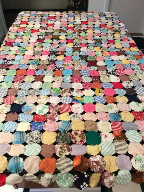 Yoyo quilt handsewn vintage 1920's 1930's collectible ...