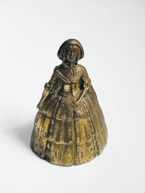 Small hand bell Victorian lady Vintage crinoline lady brass bell ornament crinoline Vintage retro kitsch decor. 1940s