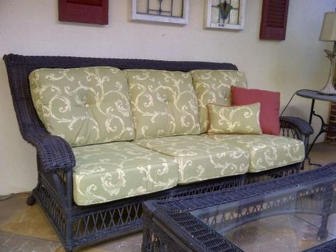 Gorgeous Replacement Cushions For Ethan Allen Wicker Furniture The Fabric Used Deep Seating And Pillow Is Sunbrella Legacy Kiwi 45428 03
