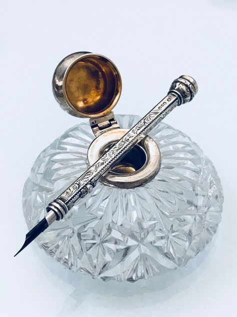 Items similar to Wonderful vintage silver & cut glass inkwell from the the flat glass base with hallmarked silver well and cap. desk accessory, gift on Etsy Vintage Pens, Vintage Silver, Fountain Pen Ink, Fountain Pen Vintage, Calligraphy Pens, Pen And Paper, Writing Instruments, Cut Glass, Hand Lettering