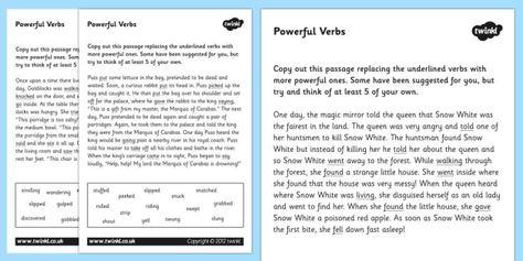 Powerful Verbs Worksheets Verbs Verbs Worksheets Powerful