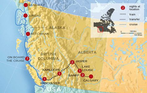 Canadian Rockies by Rail with Alaska Cruise – Map | Dream ...