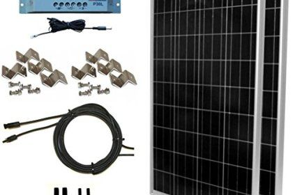 Windynation 200 Watt Solar Panel Kit 2pcs 100w Solar Panels P30l Lcd Pwm Charge Controller Solar Cable Mc4 Connectors Mounting Brackets For Off Grid Rv In 2020 Solar